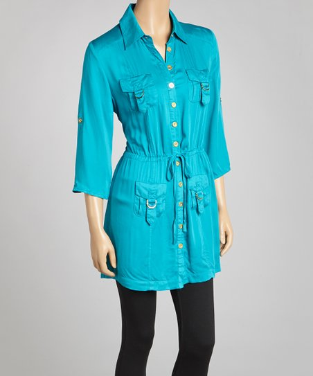Turquoise Gold-Button Tunic