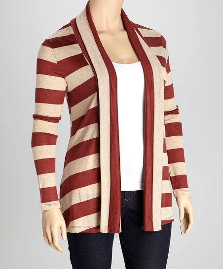 Dark Rust & Beige Stripe Open Cardigan - Plus