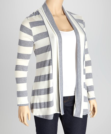 Gray & Ivory Stripe Open Cardigan - Plus