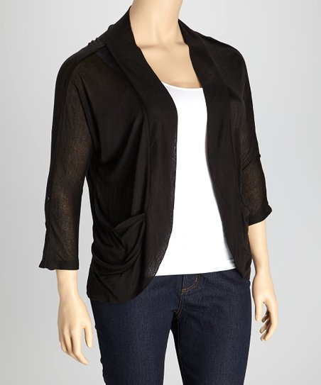 Black Roll-Tab Open Cardigan - Plus