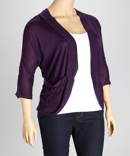 Dark Purple Roll-Tab Open Cardigan - Plus