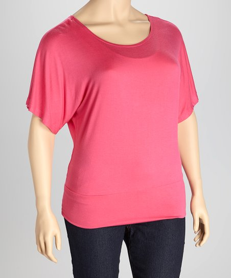 Fuchsia Banded Cape-Sleeve Top - Plus