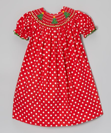 Red & White Christmas Tree Bishop Dress - Infant, Toddler & Girls