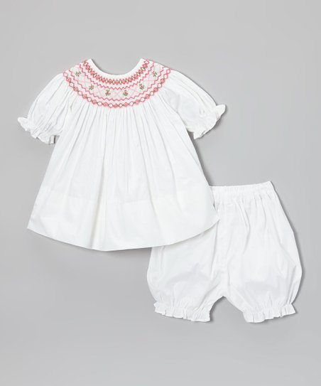 White & Pink Flower Geometric Bishop Tunic & Bloomers - Infant