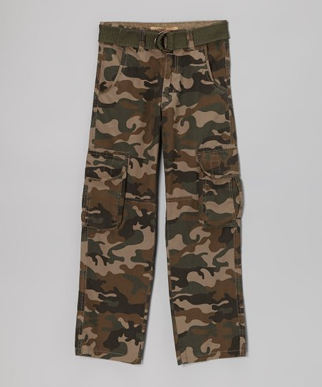 Green Camo Cargo Pants - Boys