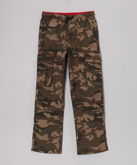 Green Camo Bungee Cargo Pants - Boys