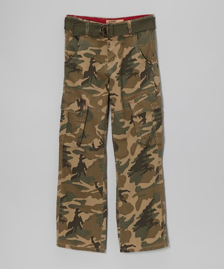 Green Camo Ripstop Cargo Pants - Boys