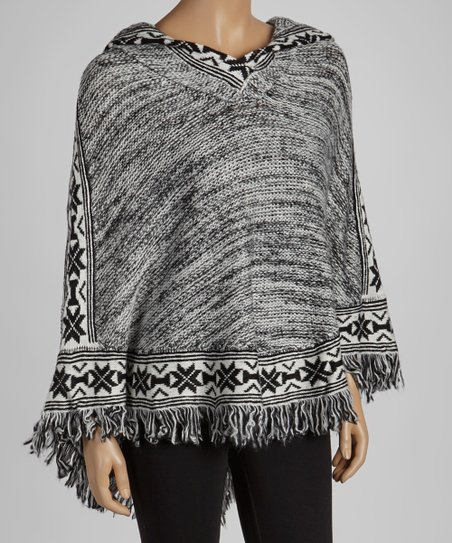 Black & White Tribal Knit Poncho