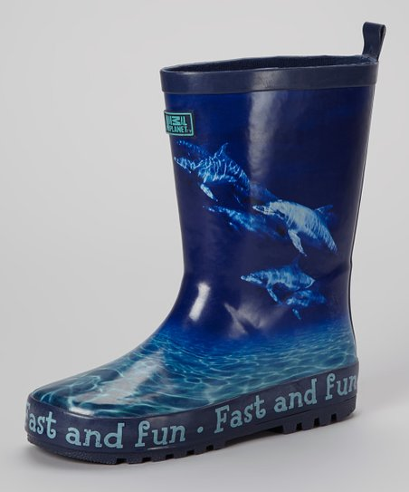 Blue 'Fast and Fun' Dolphin Rain Boot - Kids