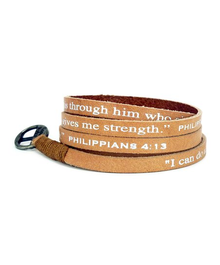 Tan 'Philippians 4:13' Leather Wrap Bracelet