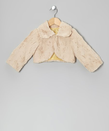 Tan Faux Fur Jacket - Girls