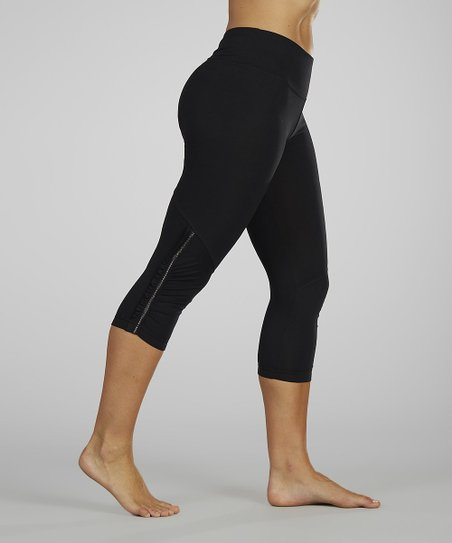 Black Ruched Capri Leggings
