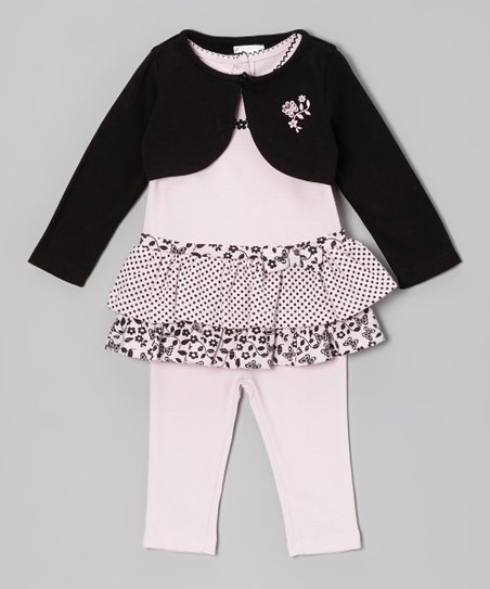 Pink & Black Floral Polka Dot Tunic Set - Infant