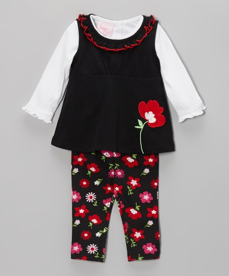 Black & Red Flower Layered Tunic Set - Infant