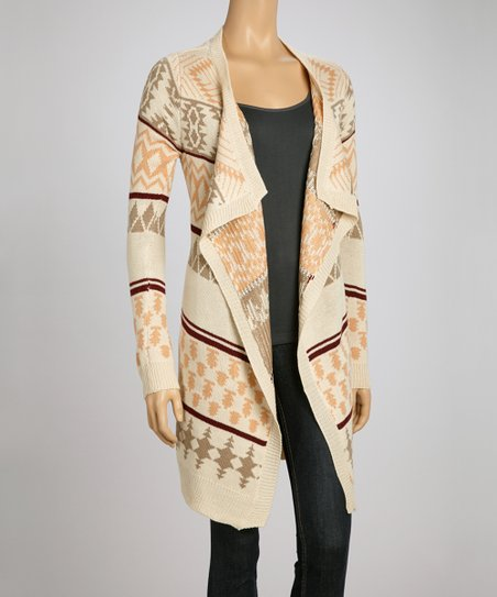 Beige Tribal Open Cardigan
