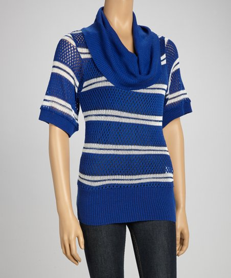 Blue & White Stripe Cowl Neck Sweater