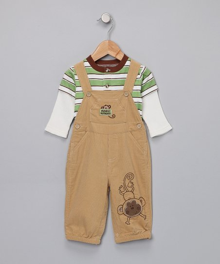Green Layered Tee & Khaki Overalls - Infant