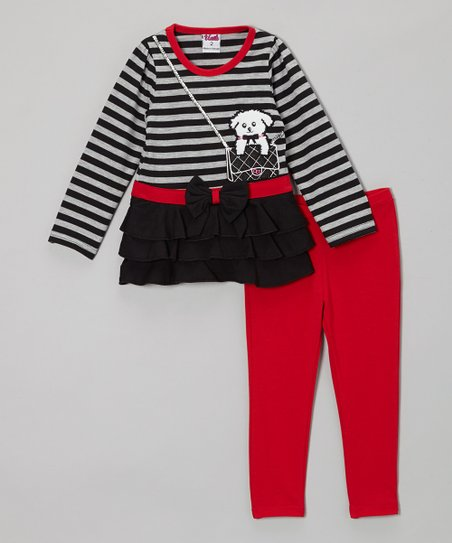 Gray Stripe Dog Tunic & Red Leggings - Toddler & Girls
