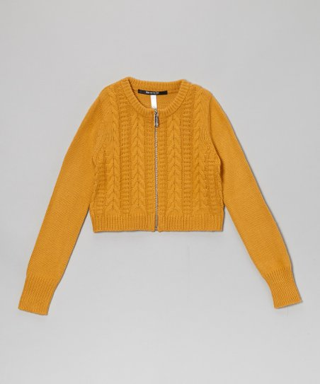 Gold Crop Cable-Knit Cardigan