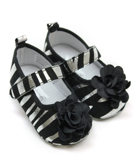 Black & Silver Foil Zebra Flower Mary Jane