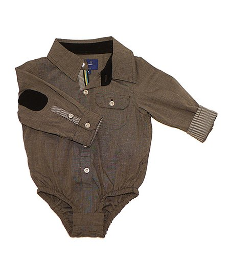 Gray Chambray Button-Up Bodysuit - Infant