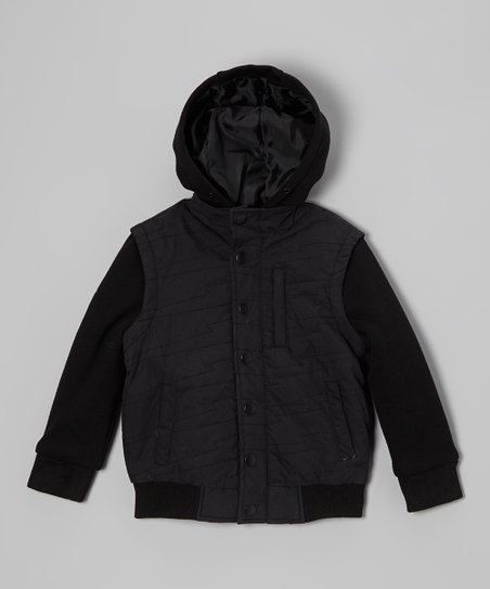 Black Flatline Layered Jacket - Boys