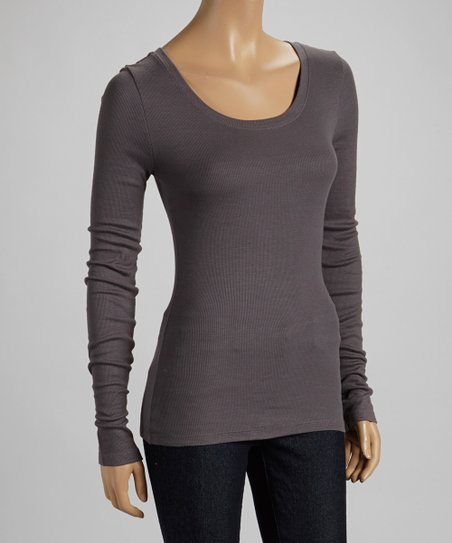 Slate Gray Ribbed Scoop Neck Top