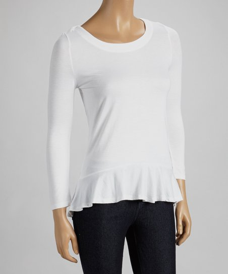 White Peplum Three-Quarter Sleeve Top