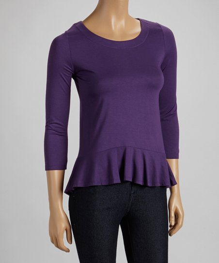 Amethyst Peplum Three-Quarter Sleeve Top