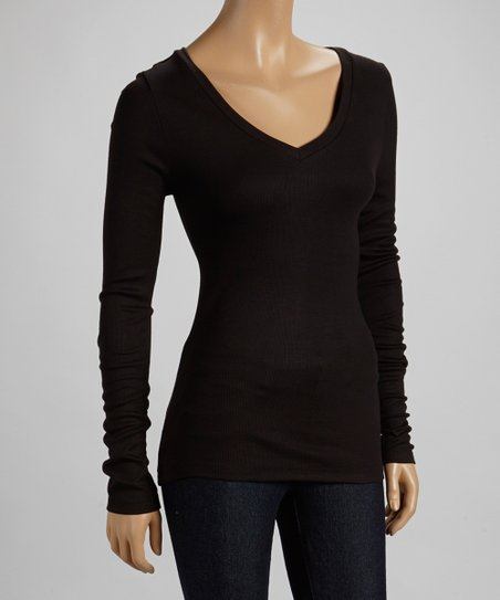 Black Ribbed V-Neck Top
