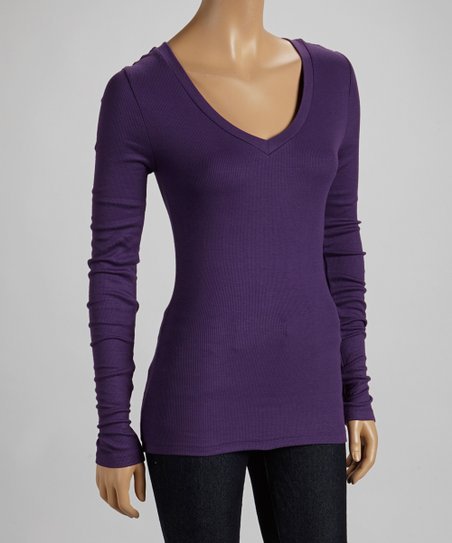 Amethyst Ribbed V-Neck Top