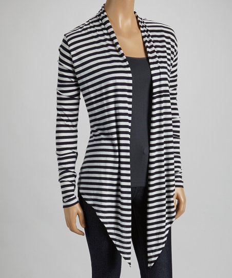 French Navy & White Stripe Open Cardigan