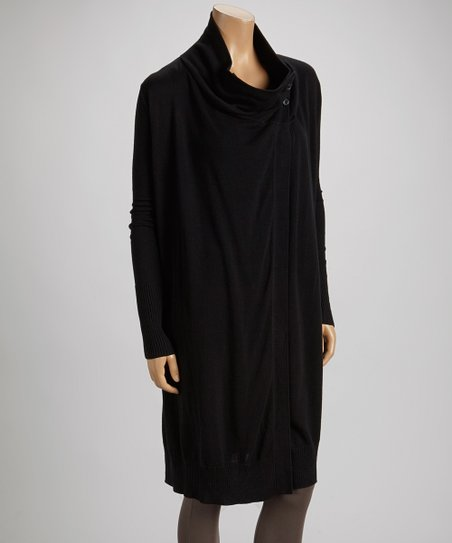Black Draped Sweater Tunic
