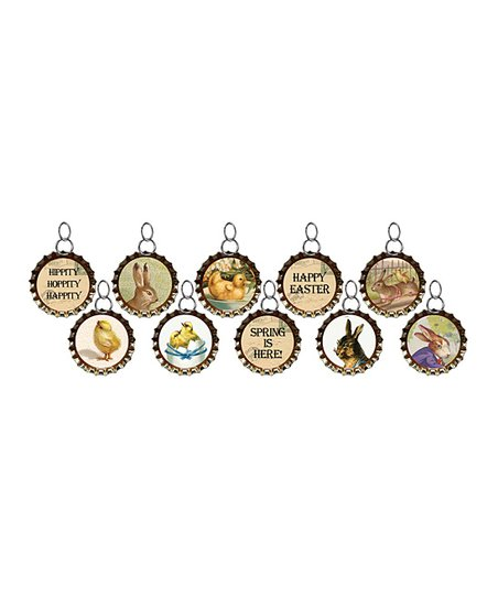 Easter Bottle Cap Charm Set