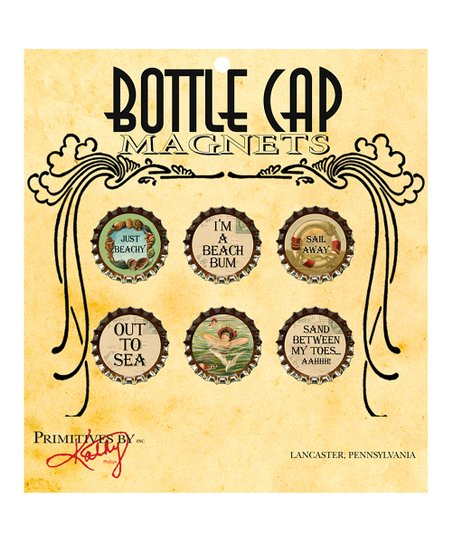 Beach Bottle Cap Magnet Set