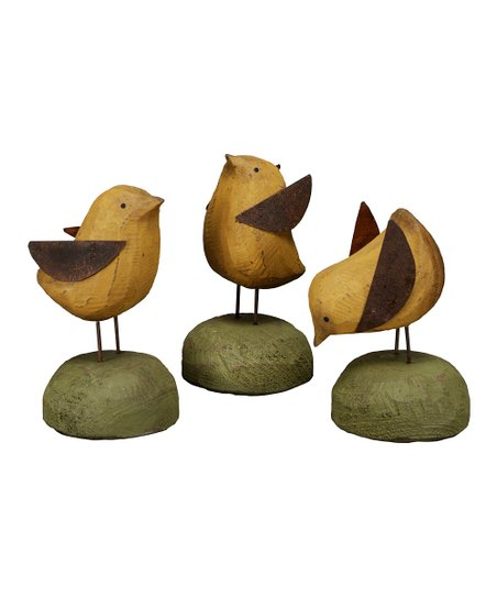 Wooden Chick Figurine - Set of Three