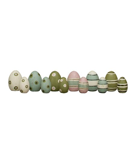 Stripe &amp; Spot Decorated Wooden Egg Set