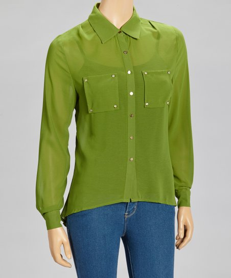 Green Sheer Hi-Low Button-Up