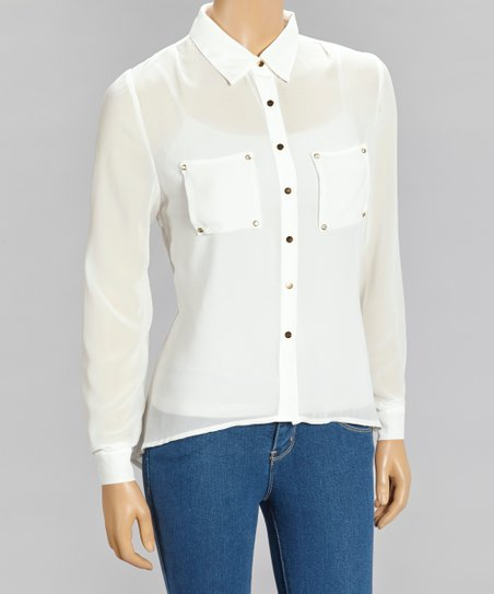 Ivory Sheer Hi-Low Button-Up
