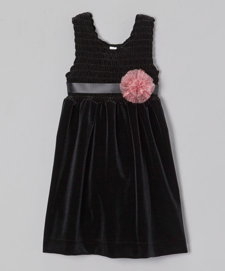 Black Chloe Velour Babydoll Dress - Toddler & Girls