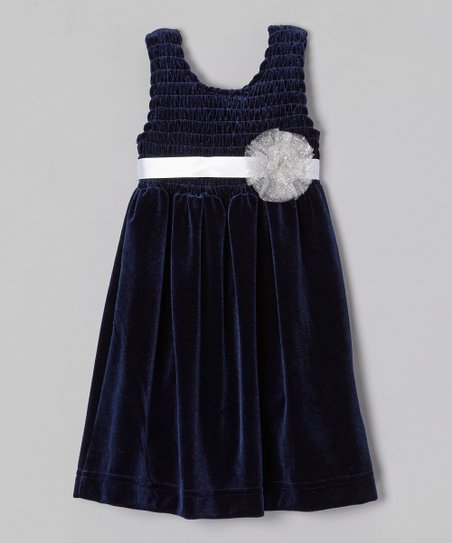 Navy Chloe Velour Babydoll Dress - Toddler & Girls