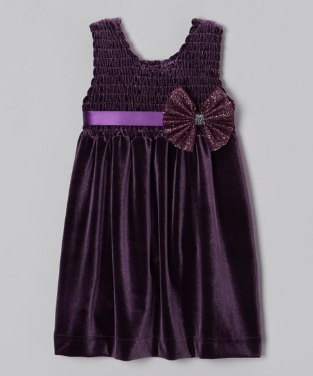 Plum Chloe Velour Babydoll Dress - Toddler & Girls