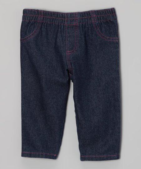 Dark Indigo & Pink Denim Jeggings - Infant, Toddler & Girls