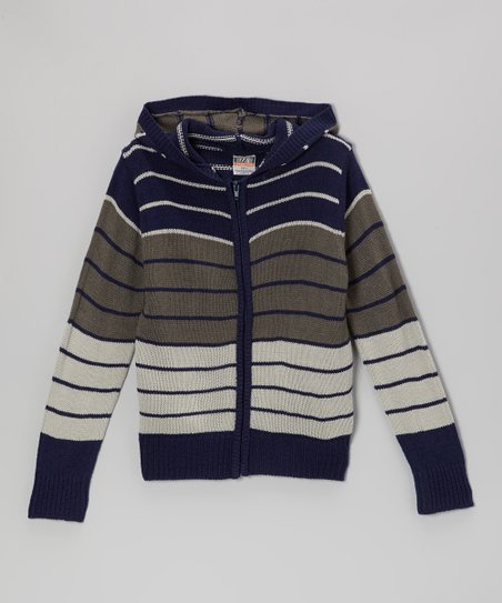 Navy & Gray Stripe Zip-Up Hoodie - Toddler & Boys