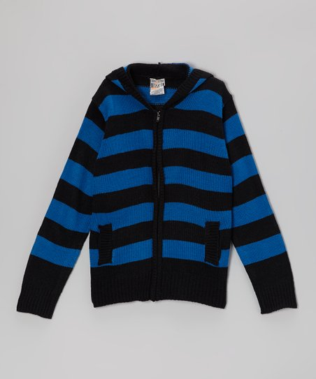 Black & Royal Blue Zip-Up Hoodie - Boys