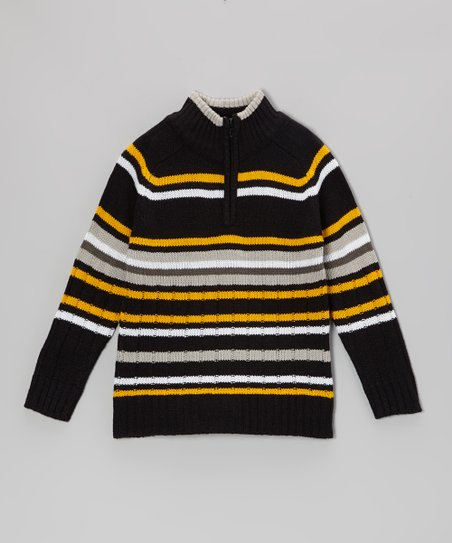 Black & Yellow Stripe Pullover - Toddler & Boys
