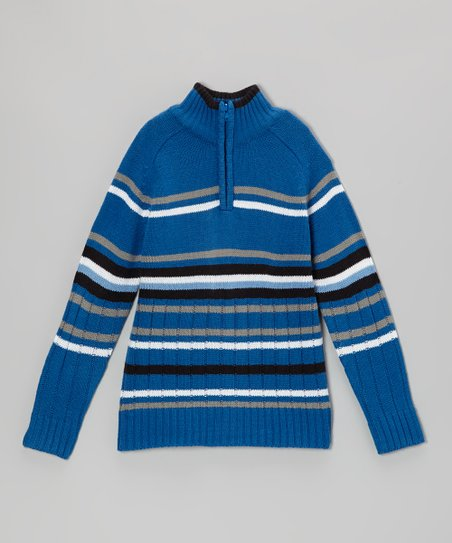 Navy & Gray Stripe Pullover - Toddler & Boys