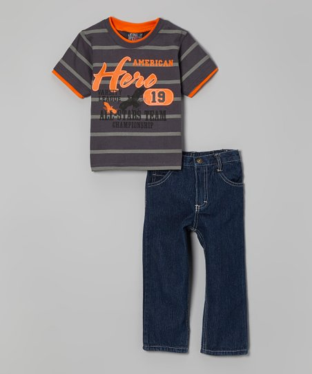 Brown Stripe 'American Hero' Tee & Jeans - Infant, Toddler & Boys
