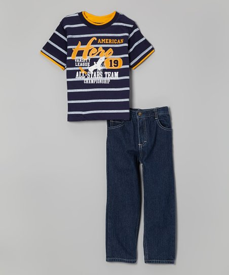 Navy Stripe 'American Hero' Tee & Jeans - Infant, Toddler & Boys