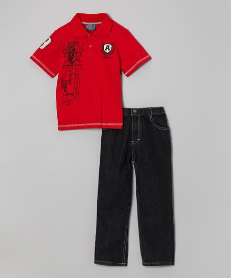 Red Embellished Polo & Jeans - Infant & Toddler